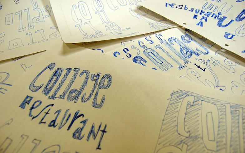 Esbozos diseño gráfico logotipo y marca restaurante