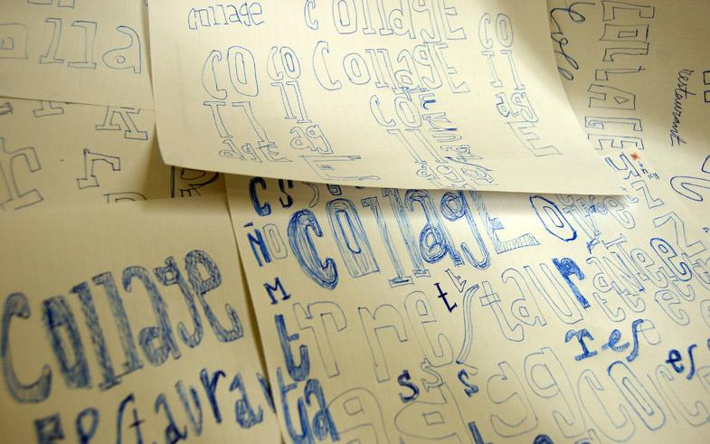 Esbozos diseño gráfico logotipo y marca Collage Restaurant Barcelona, España